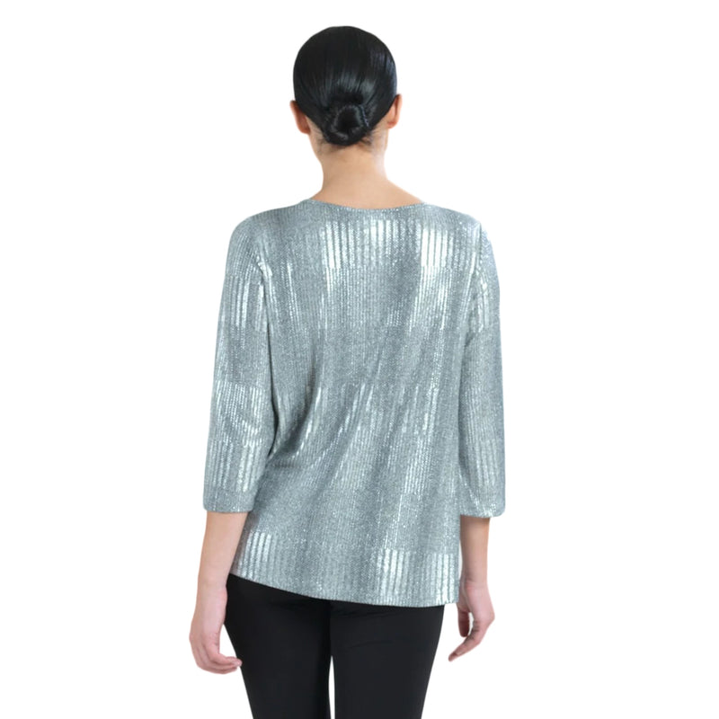 Clara Sunwoo Shimmer 🥂Twist Hem Top in Silver - T214H-SLV - Sizes L & XL Only