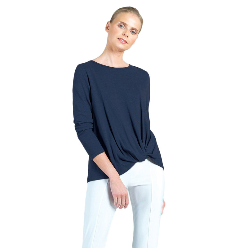 Clara Sunwoo Modal Cotton Twist-Hem Top in Navy - T214LMC-NVY