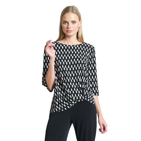 Just In! Clara Sunwoo Geo Printed Twist Hem Top - T214P8