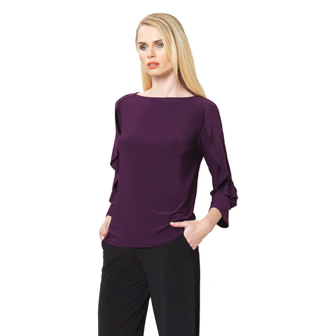 Clara Sunwoo Ruffle Flutter Sleeve Soft Knit Top in Eggplant - T219-EGP - Size S Only