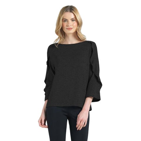 Clara Sunwoo Flutter Sleeve Sweater Top in Black - T219W-BLK - Size XL Only