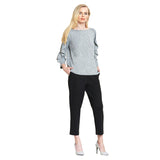 Clara Sunwoo Striking Ruffle Sleeve Sweater Top in Grey - T219W-GRY