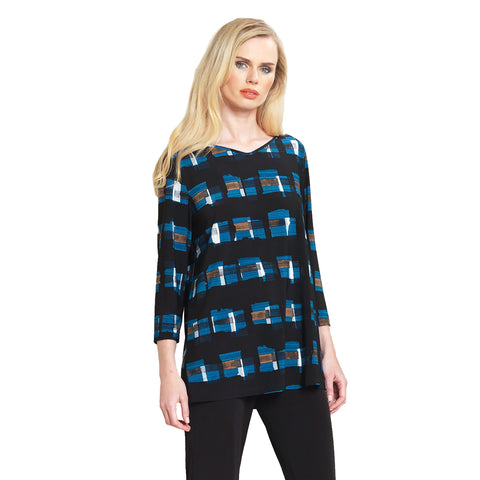 Clara Sunwoo V-Neck Abstract Print Tunic Top in Blue Multi - T26P - Size M Only