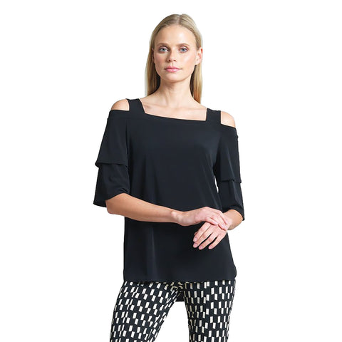 Just In! Clara Sunwoo High-Low Teardrop Sleeve Top in Black - T27-BLK