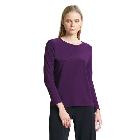 New Color! Clara Sunwoo Basic Scoop Neck Long Sleeve Top in Eggplant - T28-EGG