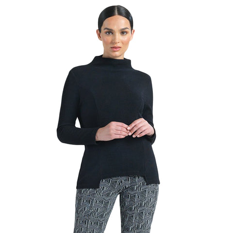 Clara Sunwoo Ribbed High-Low Sweater Top in Black - T31W-BLK - Size S Only