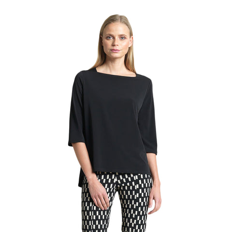 Clara Sunwoo -Loose Relaxed Silhouette Boat Neck Top in Black ♥T36-BLK
