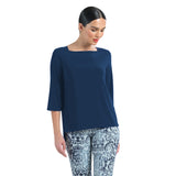 Clara Sunwoo -Loose Relaxed Silhouette Boat Neck Top in Navy - T36-NVY