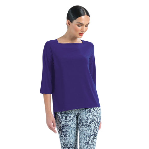 Clara Sunwoo High-Low Boat Neck Top in Purple - T36-PPL - Size XS Only