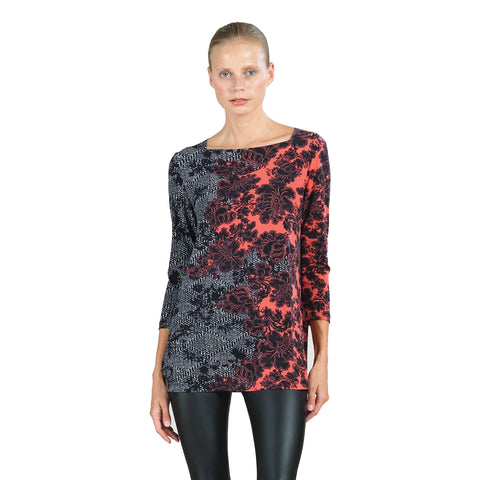 Clara Sunwoo Mixed Media Boat Neck Tunic Top in Black/Coral - T39P1