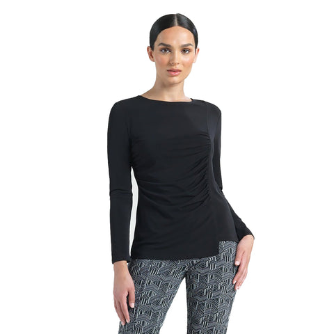 Clara Sunwoo Side Ruched Top in Black - T40-BLK - Sizes S - L