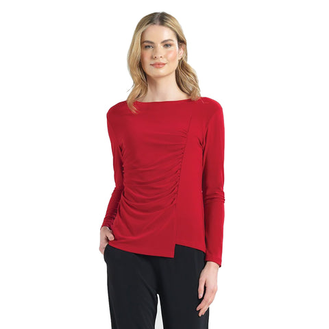 Clara Sunwoo Soft Knit Side Ruched Top in Red - T40-RD