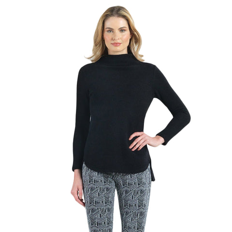 Clara Sunwoo High-Low Soft Knit Sweater Top in Black - T42W-BLK