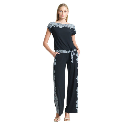Clara Sunwoo Lace Trim Print Wide Leg Pant - PT21P4 - Sizes XS, S, XL & 1X