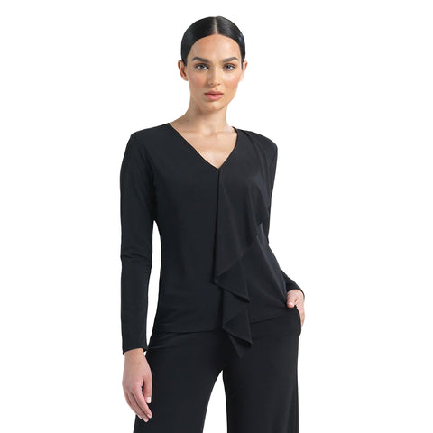 Clara Sunwoo Solid V-Neck Cascade Drape Top in Black - T46-BLK