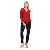 Clara Sunwoo V-Neck Front Cascade Soft Knit Top in Red - T46-RD