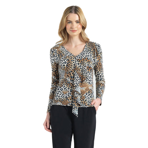 Clara Sunwoo Cheetah Print Cascade Drape Top in Multi - T46P-CHT - Size L Only