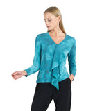 Clara Sunwoo Tie-Dye V-Neck Drape Top in Turquoise - T46WP - Sizes XS, S & 1X