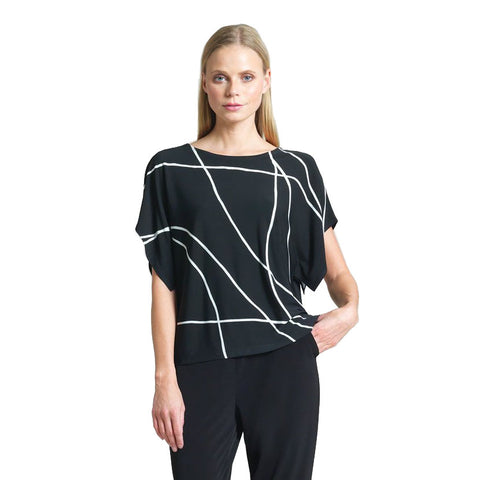 Just In! Clara Sunwoo Swirl Print Hi-Low Modern Top in Black/White - T51P3
