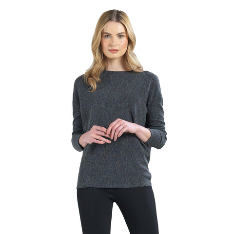 Clara Sunwoo Ribbed Sweater Knit Top in Grey - T56W-GRY - Sizes XS, XL & 1X