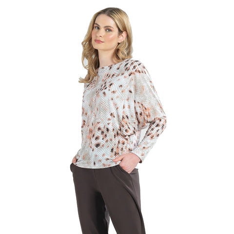 Clara Sunwoo Abstract Print Long Sleeve Dolman Top - T58P - Size M Only