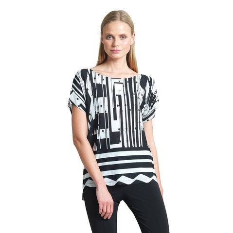 Clara Sunwoo Mixed Stripe Short Sleeve Top in Black & White - T5P