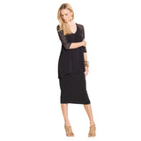 Clara Sunwoo V Neck Tunic with Circular Cutout Sleeves in Black - T62