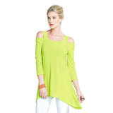Clara Sunwoo Signature Cold Shoulder Tunic in Lime - T101 - Size S Only