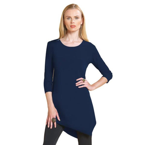 Clara Sunwoo Solid Kerchief Hem Tunic in Navy  ♥ T69-NVY - Size S Only