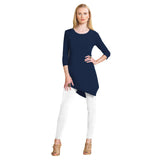 Clara Sunwoo Solid Kerchief Hem Tunic in Navy  ♥ T69-NVY