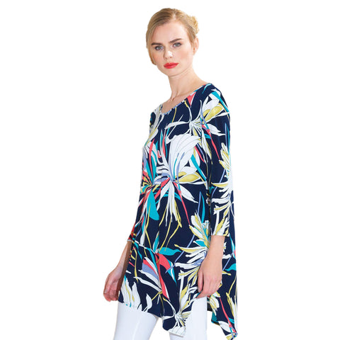 Clara Sunwoo Orchid Print Tunic in Navy Multi T69P13-NYMT - Sizes XS & S Only