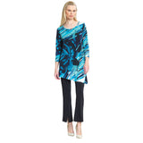 Clara Sunwoo Abstract Print Angle Hem Tunic inTop in Navy/Turquoise - T69P22-NY