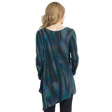 Clara Sunwoo Peacock Pin-Stripe Sweater Knit Tunic in Blue/Multi - T69WP4
