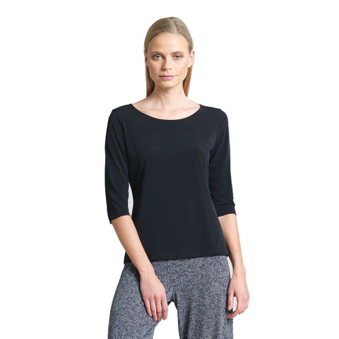 Clara Sunwoo Scoop Neck Half Sleeve Top in Black - T77-BLK