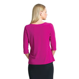 Clara Sunwoo Scoop Neck Half Sleeve Top in Magenta - T77-MAG
