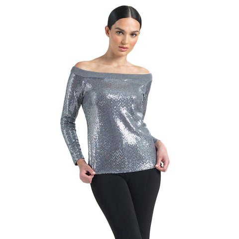 Clara Sunwoo Sequined Off-Shoulder Top in Silver - T77S-SLV - Size S Only