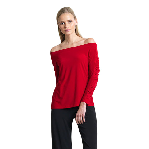 Clara Sunwoo Off-Shoulder Top in Red - T80-RED