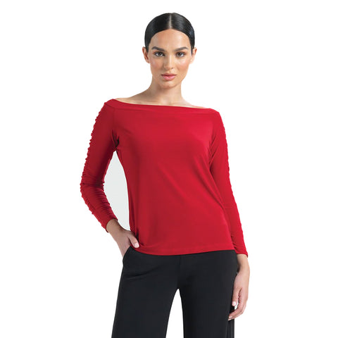 Clara Sunwoo Off-Shoulder Ruched Sleeve Top in Red - T80-RED - Sizes XS & 1X Only