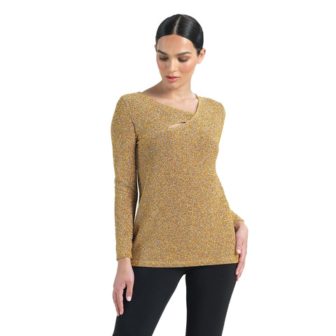 Clara Sunwoo Shimmer Cut-Out Top in Gold - T81S - Size M Only