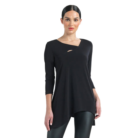 Clara Sunwoo Asymmetric-Neck Tunic in Black - T82-BLK