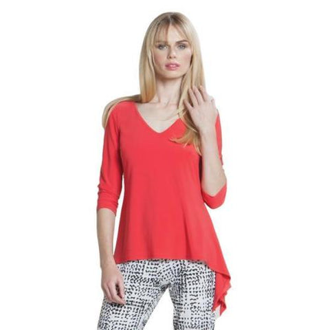 Clara SunWoo V-Neck Waterfall Top in Coral - T822-CO - Size 1X Only