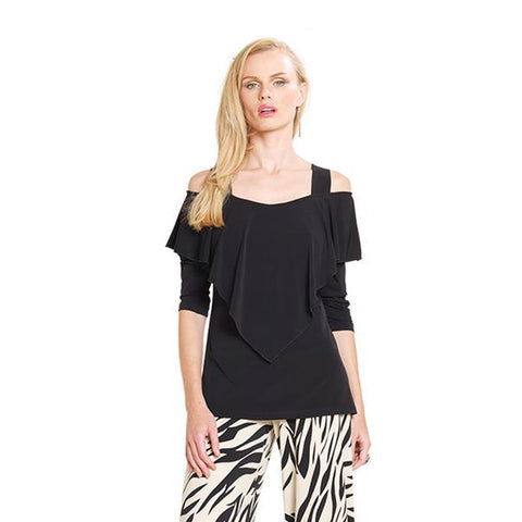 Clara Sunwoo Ruffle Front Top - in Black- T84-BLK