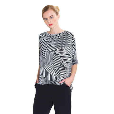 Clara Sunwoo Geo Piano Stripe Top in Black/White - T90P3-BKWT
