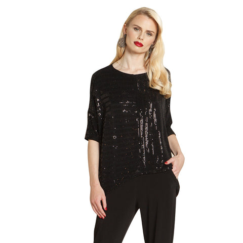 Clara Sunwoo Sequin Box Top in Black - T91S-BLK  - Size XL Only