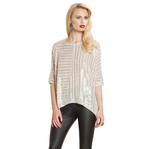 Clara Sunwoo Sequin Box Top in Champagne - ♥ T91S-CPG - Sizes M & 1X Only