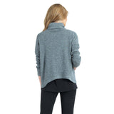 Clara Sunwoo Cowl Turtleneck Tipped Hem Sweater Top in Grey - T92W2-GREY