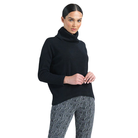 Clara Sunwoo Ribbed Cowl Turtleneck Sweater Top in Black - T92W3-BLK