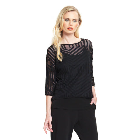 Clara Sunwoo Lace Mesh Overlay Box Top in Black - T93M-BLK