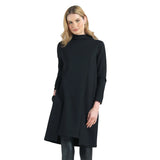 Clara Sunwoo Ponte Funnel Neck Tunic Dress with Pockets in Black - TD129A