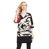 Clara Sunwoo Rose Stamp V-Neck Tunic in Beige/Black/Red - TD20P2 - Sizes M & L Only